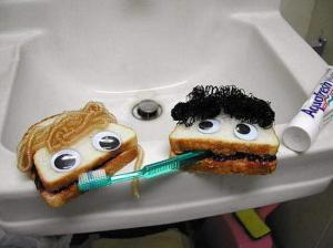 Sandwiches brushing teeth