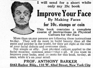 "A 1903 ad for a facial exercise book written by Professor Anthony Barker, ""Improve Your Face."""
