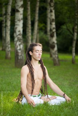 Man Meditating Nature