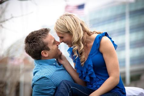Couple wearing blue
