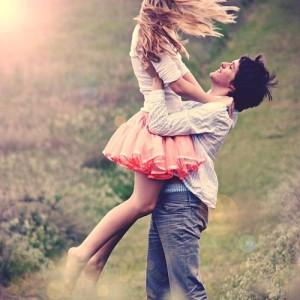 happy loving couple outside