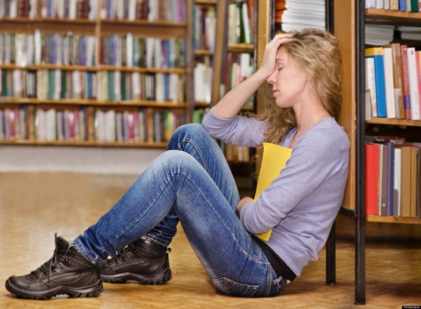 Teenager stressed in library
