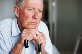 Worried depressed older man